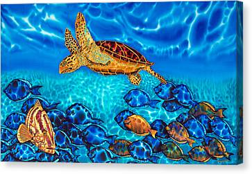 Caribbean Sea  Turtle And Reef  Fish Canvas Print by Daniel Jean-Baptiste