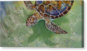 Caribbean Sea Turtle Canvas Print by Michael Creese
