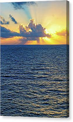 Canvas Print featuring the photograph Caribbean Sunrise At Sea - Ocean - Sun Rays by Jason Politte