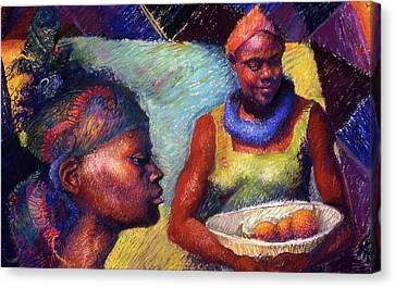 Caribbean Women With Oranges Canvas Print
