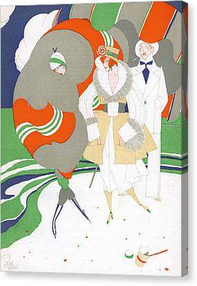 Caricature Of Flappers Wearing Furs Canvas Print by Ralph Barton