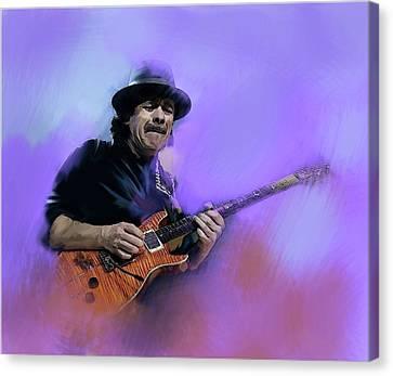 Santana Canvas Print - Carlos Santana Pura Vida by Iconic Images Art Gallery David Pucciarelli