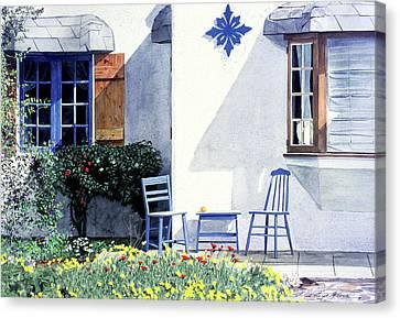 Carmel Cottage With Orange Canvas Print by David Lloyd Glover
