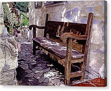 Carmel Mission Bench Canvas Print by David Lloyd Glover