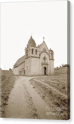 Carmel Mission South Side Circa 1915 Canvas Print by California Views Mr Pat Hathaway Archives