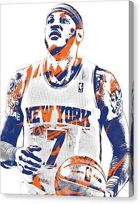 Knicks Canvas Print - Carmelo Anthony New York Knicks Pixel Art 2 by Joe Hamilton