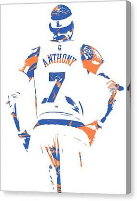 Knicks Canvas Print - Carmelo Anthony New York Knicks Pixel Art 5 by Joe Hamilton
