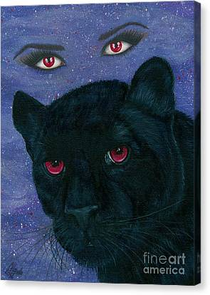 Canvas Print featuring the painting Carmilla - Black Panther Vampire by Carrie Hawks