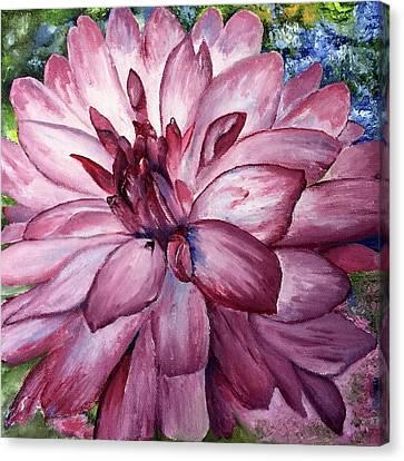 Carmine Dahlia Canvas Print