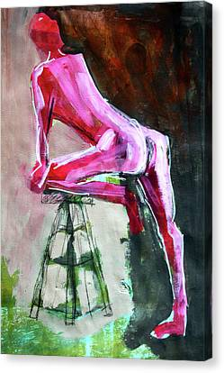 Canvas Print featuring the painting Carmine Figure No. 3 by Nancy Merkle