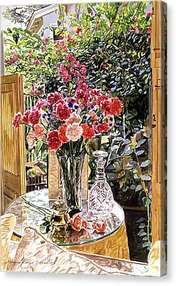 Carnations In The Window Canvas Print by David Lloyd Glover