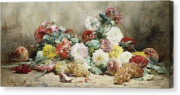 Carnations, Roses, Grapes And Peaches Canvas Print by Georges Jeannin