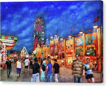 Carnival - The Carnival At Night Canvas Print by Mike Savad