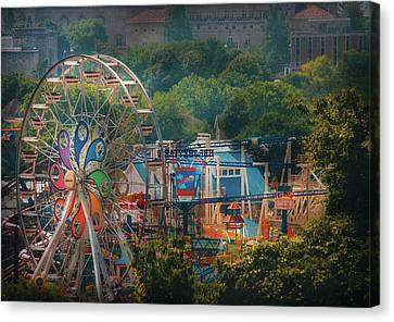 Carnival - The Ferris Wheel Canvas Print by Mike Savad