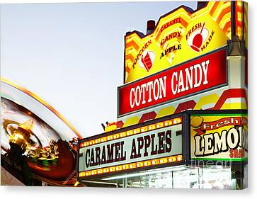 Carnival Concession Stand Sign And Ride Canvas Print by Paul Velgos