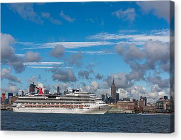 Carnival Cruise Splendor Nyc Skyline Canvas Print by Terry DeLuco