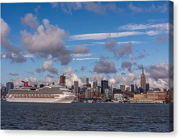 Carnival Cruise Splendor Waterfront Hoboken Nj Canvas Print by Terry DeLuco