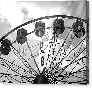 Canvas Print featuring the photograph Carnival Ferris Wheel Black And White Print - Carnival Rides Ferris Wheel Black And White Art Prints by Kathy Fornal