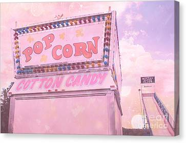 Carnival Festival Popcorn Cotton Candy Slide Fun Canvas Print by Kathy Fornal