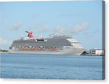 Canvas Print featuring the photograph Carnival Magic At Port Canaveral by Bradford Martin