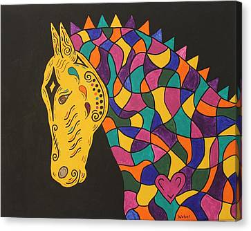 Carnival Stained Glass Tribal Horse Canvas Print by Susie WEBER