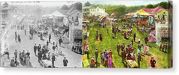 Carnival - Summer At The Carnival 1900 - Side By Side Canvas Print by Mike Savad