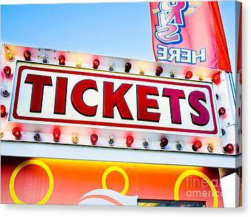 Carnival Tickets Sign Canvas Print by Paul Velgos
