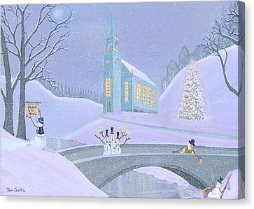 Carolers On A Bridge Canvas Print by Thomas Griffin