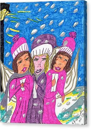 Angel Carolers On A Snowy Night Canvas Print
