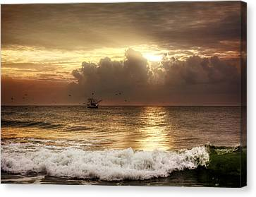 Chrystal Canvas Print - Carolina Beach Shrimp Boat At Sunrise by Chrystal Mimbs
