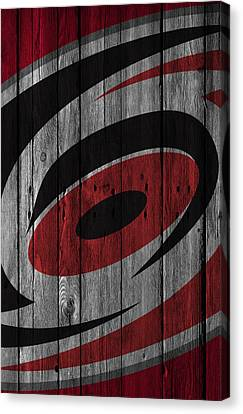 Carolina Hurricanes Wood Fence Canvas Print by Joe Hamilton
