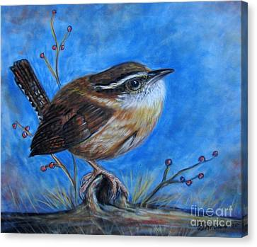 Canvas Print featuring the painting Carolina Wren by Patricia L Davidson