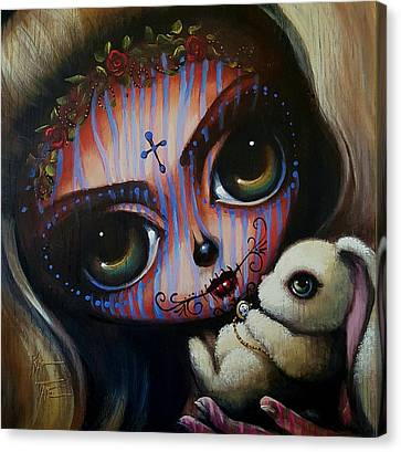 Skull In Rose Canvas Print - Caroline by Kat Tatz