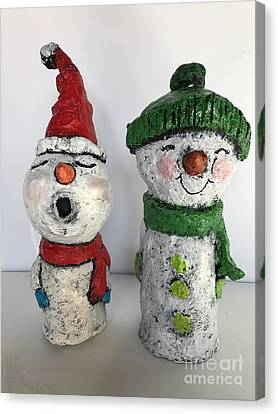 Canvas Print featuring the sculpture Caroling Snowmen by Vickie Scarlett-Fisher
