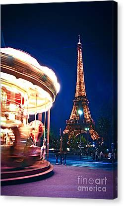 Travel Destinations Canvas Print - Carousel And Eiffel Tower by Elena Elisseeva