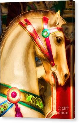 Carousel Colors Canvas Print by Mel Steinhauer