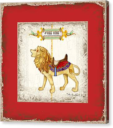 Carved Canvas Print - Carousel Dreams - Roaring Lion by Audrey Jeanne Roberts