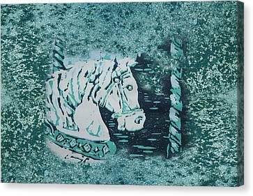 Carousel Horse Aquamarine Canvas Print