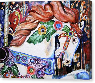Canvas Print featuring the painting Carousel Horse by Mary Haley-Rocks