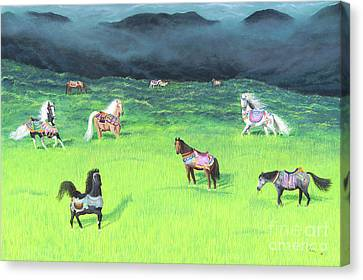 Canvas Print featuring the painting Carousel Horse Retirement by Cindy Lee Longhini