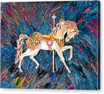 Carousel Horse With Dark Background Canvas Print by Brenda Adams