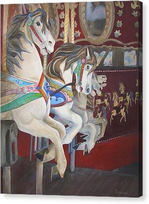 Carousel Horses Canvas Print by Linda Cleveland