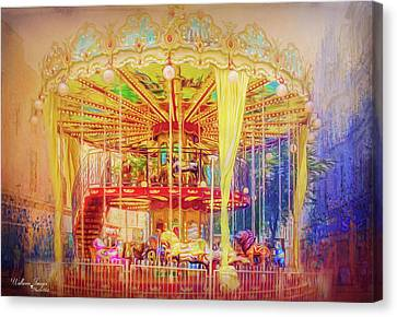 Canvas Print featuring the photograph Carousel by Wallaroo Images