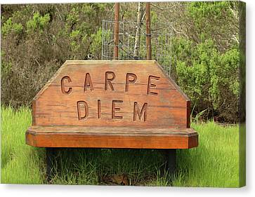 Canvas Print featuring the photograph Carpe Diem Bench by Art Block Collections