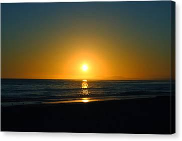 Carpinteria State Beach At Sunset Canvas Print by Bransen Devey