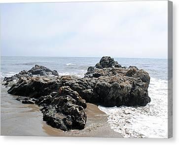 Carpinteria State Beach Rocks Canvas Print by Bransen Devey
