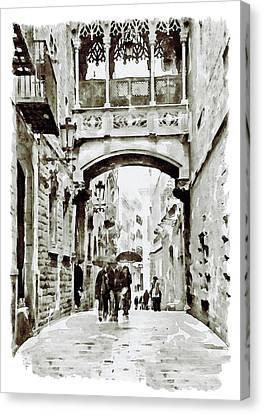 Carrer Del Bisbe - Barcelona Black And White Canvas Print by Marian Voicu