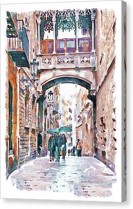 Gothic Poster Canvas Print - Carrer Del Bisbe - Barcelona by Marian Voicu