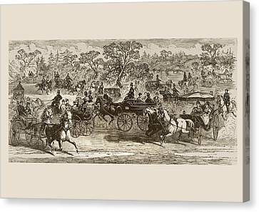 Carriages In Central Park New York In Canvas Print