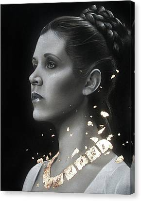 Carrie Fisher - Traditional Art Tribute Canvas Print by Alaina Ferguson